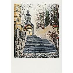 "Faltkarte ""Treppe mit Mauritiuskirche"""